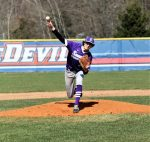 Trent Weigel pitches in relief in Swanton's Opening Day 10-0 road loss to the Springfield Blue Devils.