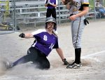 Taylor Forrest slides across home plate to pad an already big Swanton lead as the Lady Bulldogs moved to 3-0 on the season with a 10-0 victory over the Pettisville Lady Blackbirds.  Brie Williams allowed one hit and struck out 13 to pick up the win. Attachments area