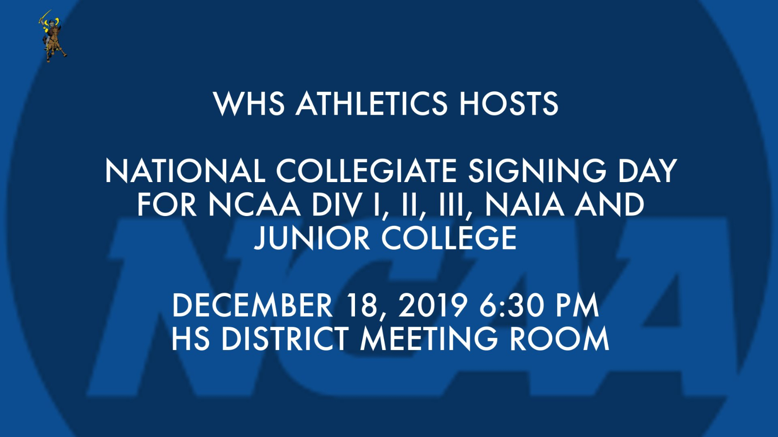 WHS HOSTS COLLEGIATE NATIONAL SIGNING DAY FOR STUDENT ATHLETES