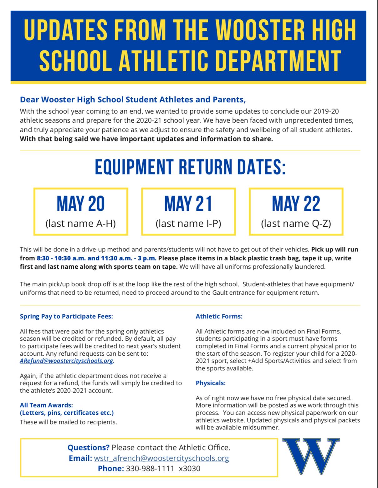Athletic Department Updates 5.18.20