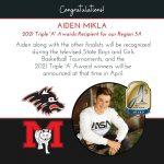 "Congratulations Aiden Mikla – 2021 Triple ""A"" Award Winner for Region 5A"