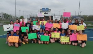 Lady Royals Tennis:  HSE vs. Fishers (Mudsock & #smashcancer Match)