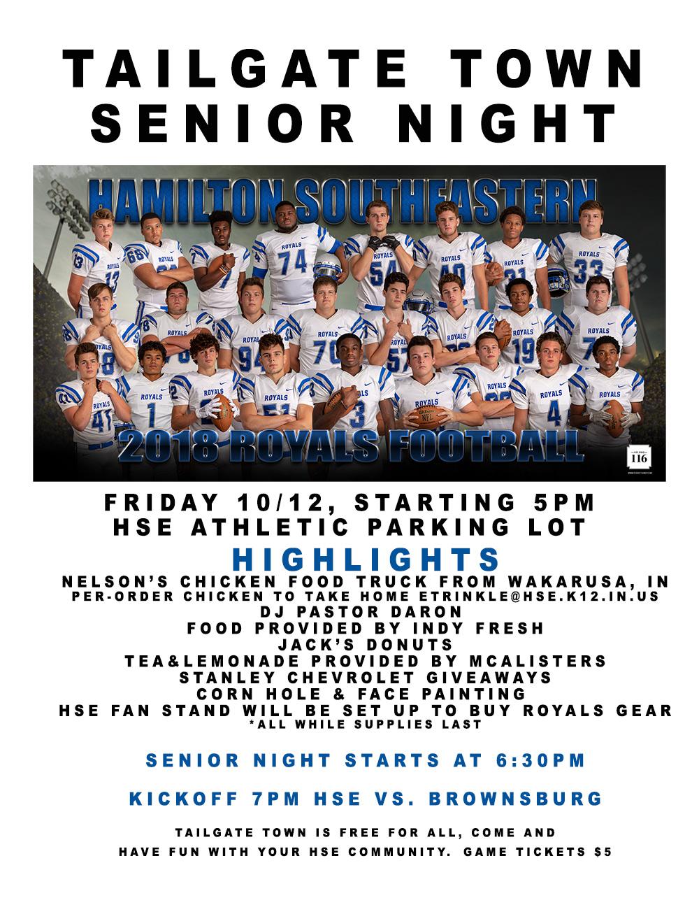 Tailgate Town – Senior Night