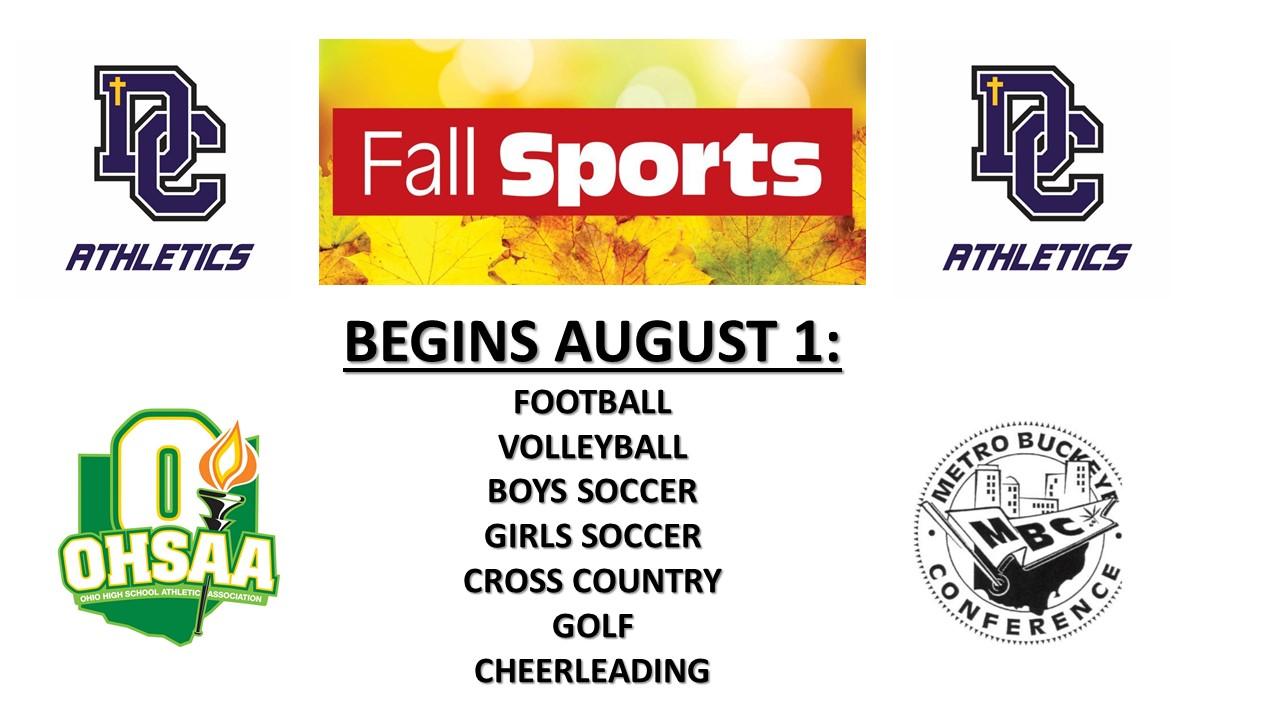 Fall Sports Season Begins August 1