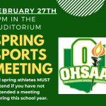 OHSAA Spring Sports Meeting Rescheduled for February 27