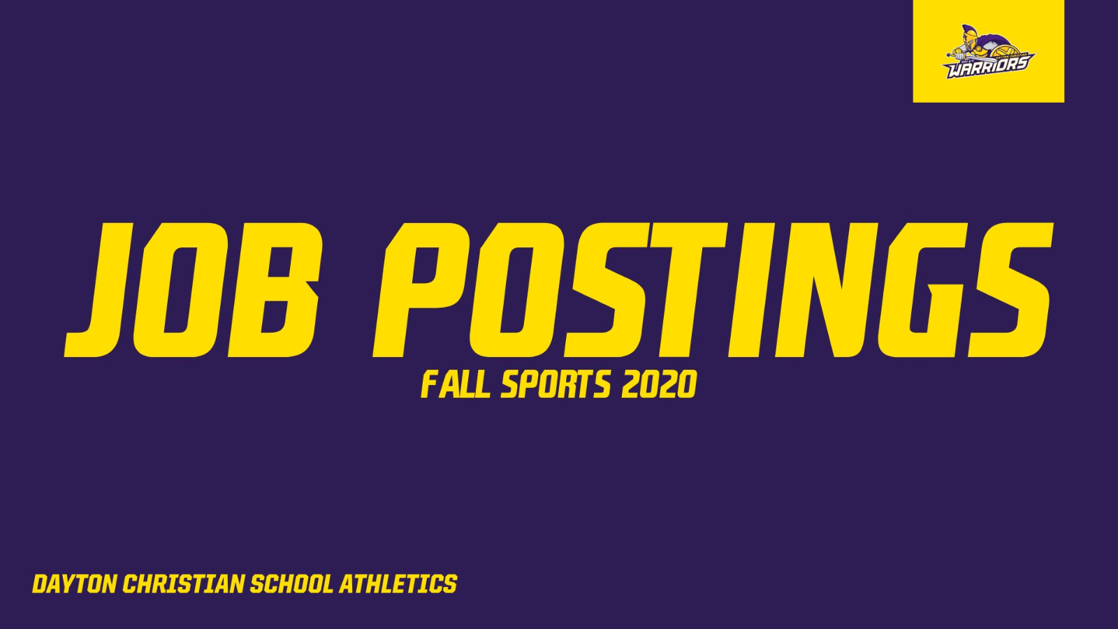 Job Postings: Fall Sports 2020
