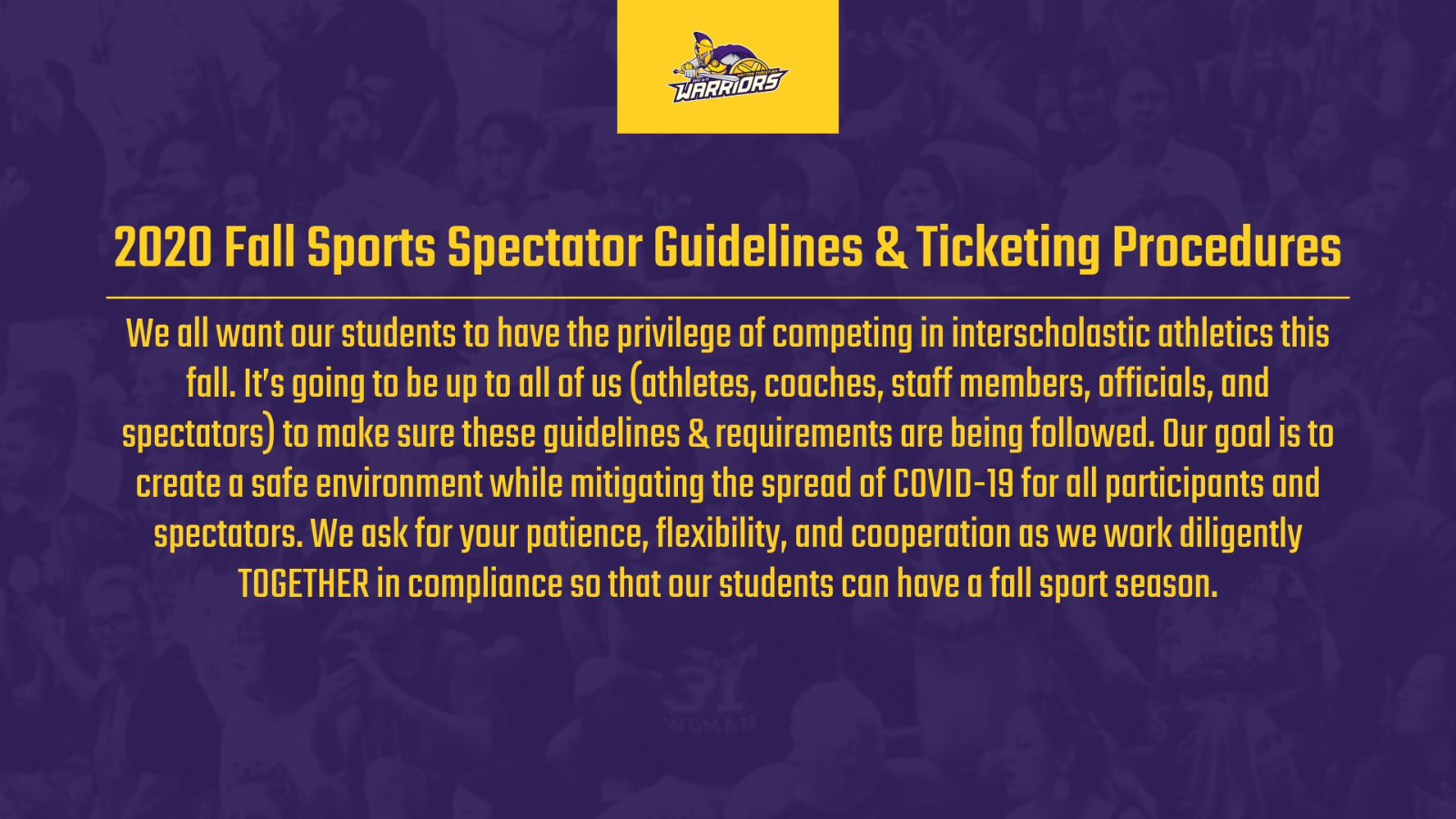 2020 Fall Sports Spectator Guidelines & Ticketing Procedures