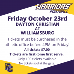 Tickets on Sale for Week 9 Football Game at Williamsburg