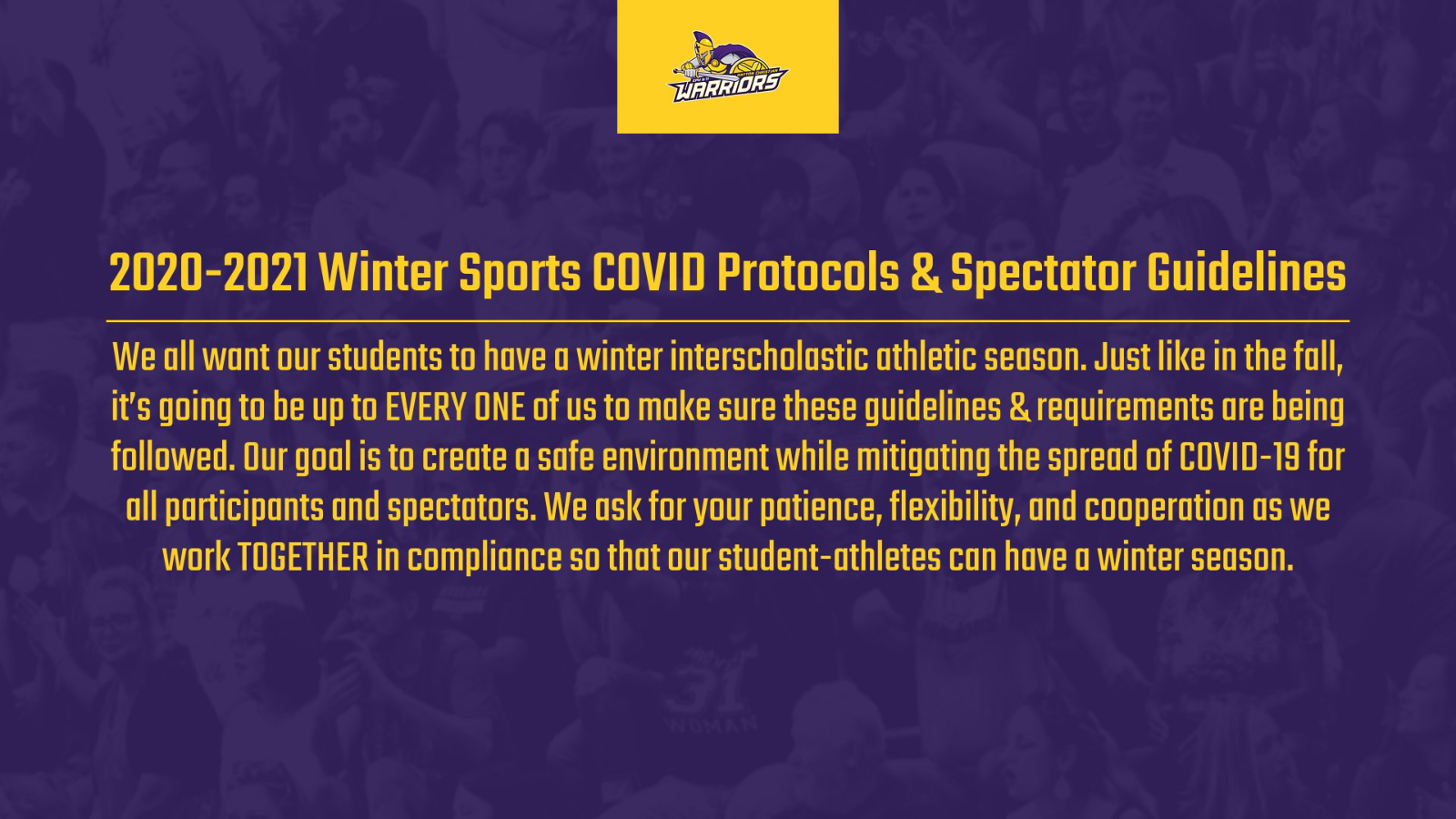 2020-2021 Winter Sports COVID Protocols, Spectator Guidelines & Ticketing Procedures