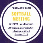 Softball Meeting February 11, More Players Needed
