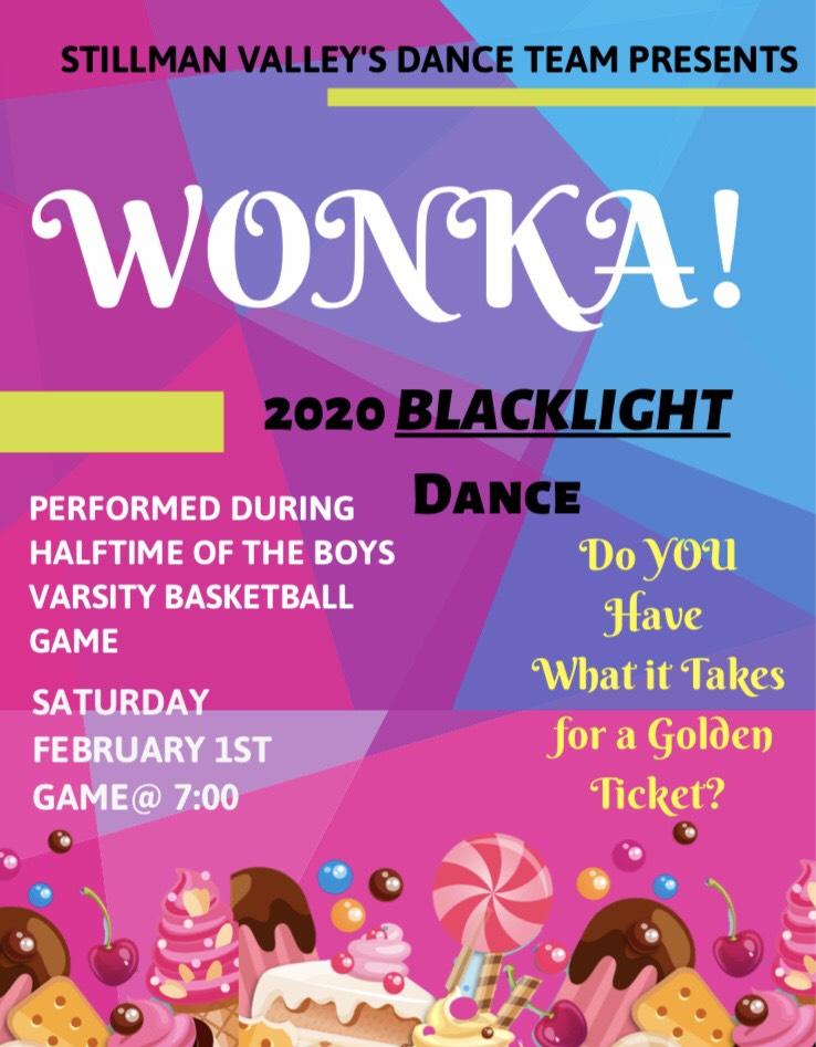 DANCE TEAM: Blacklight Dance Performance Saturday, Feb. 1st