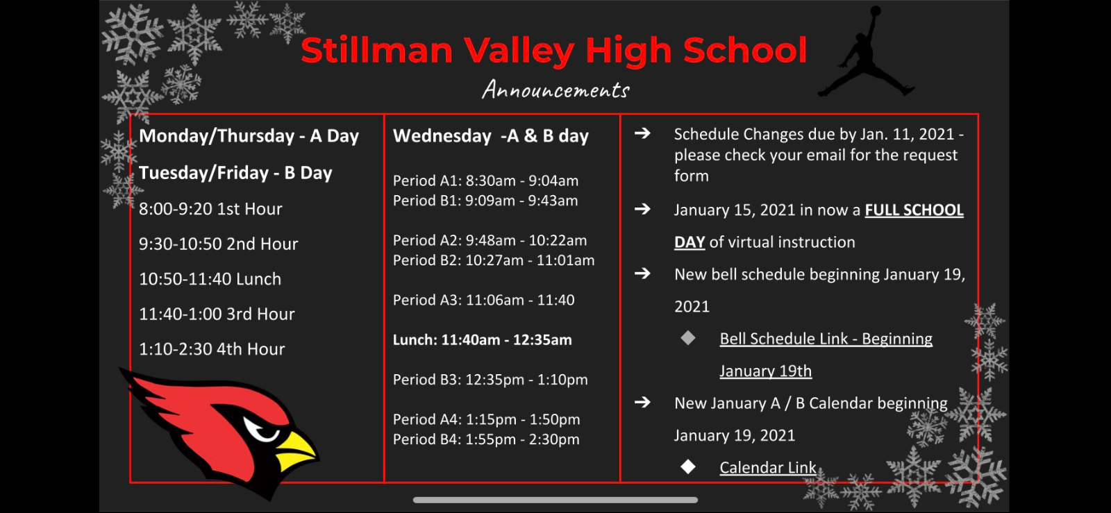 SVHS Announcements as of Jan. 11