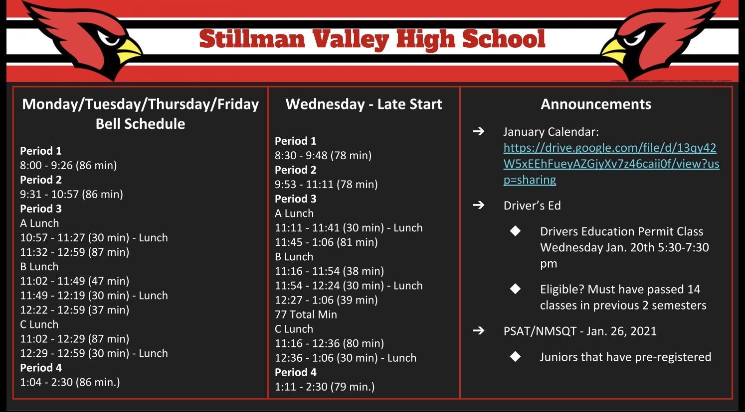 SVHS Announcements as of Jan. 15