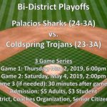 Shark Baseball Bi-District Game Information