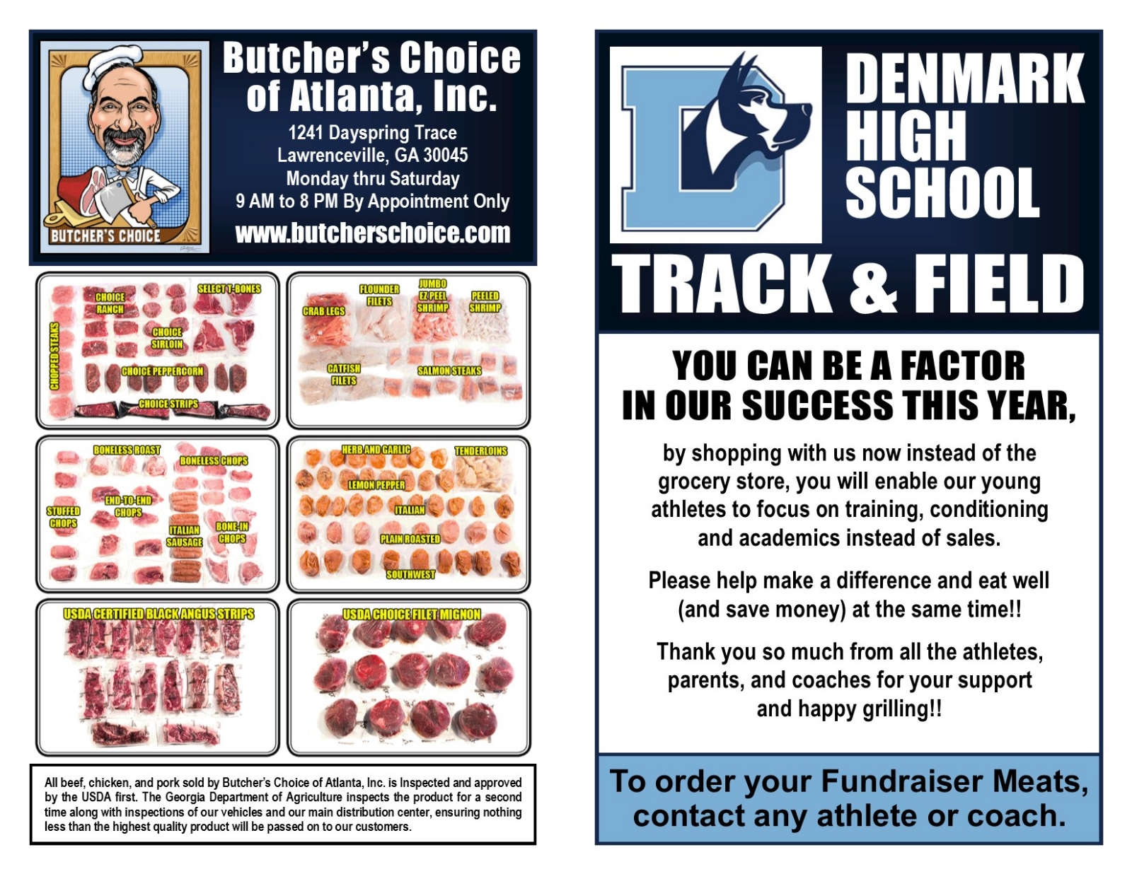 """Track Fundraiser """"Butcher's Choice"""" Sell"""