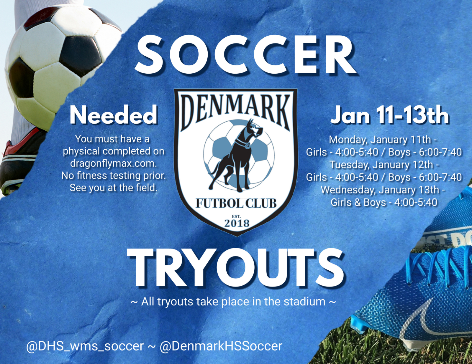 Denmark Soccer Tryouts Announced