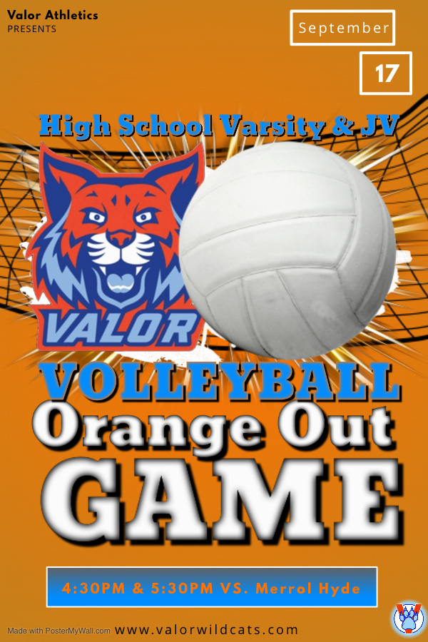 Volleyball Orange Out Games next week: Middle School on 9/16 & High School on 9/17