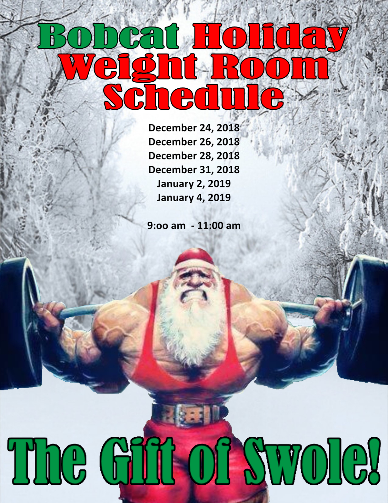 Weight Room Hours Over Holiday Break
