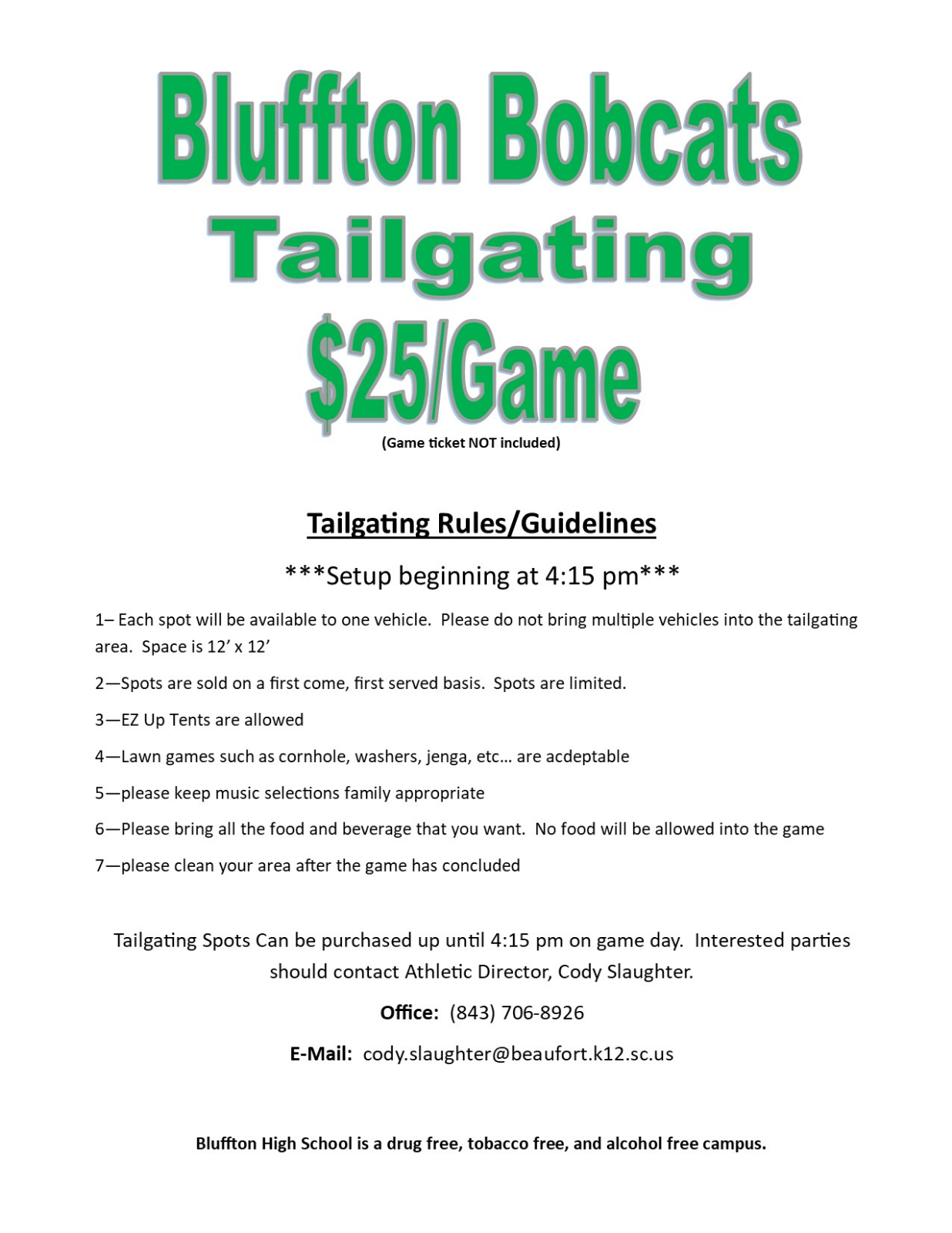 Tailgating available for Hanahan and future games