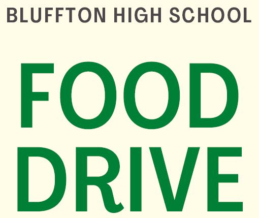 Food Drive at Bluffton High School and Basketball Game 1/15