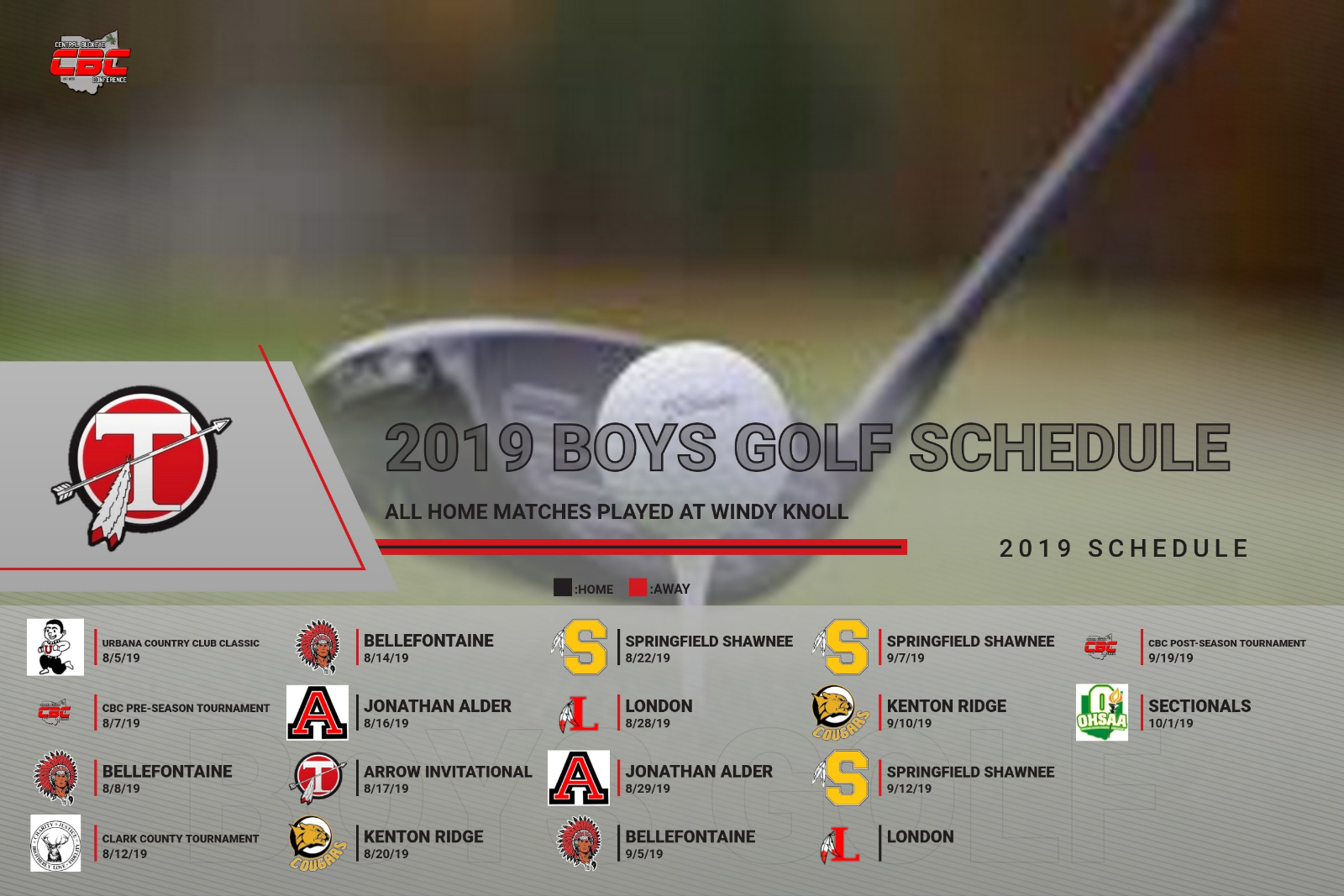 2019 Boys Golf Schedule