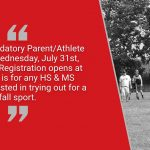 Fall Parent/Athlete Meeting July 31st