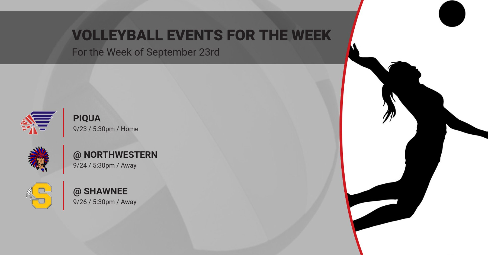 Volleyball Events for the Week of September 23rd
