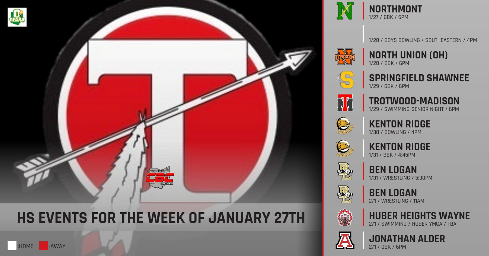 High School Events for the Week of January 27th