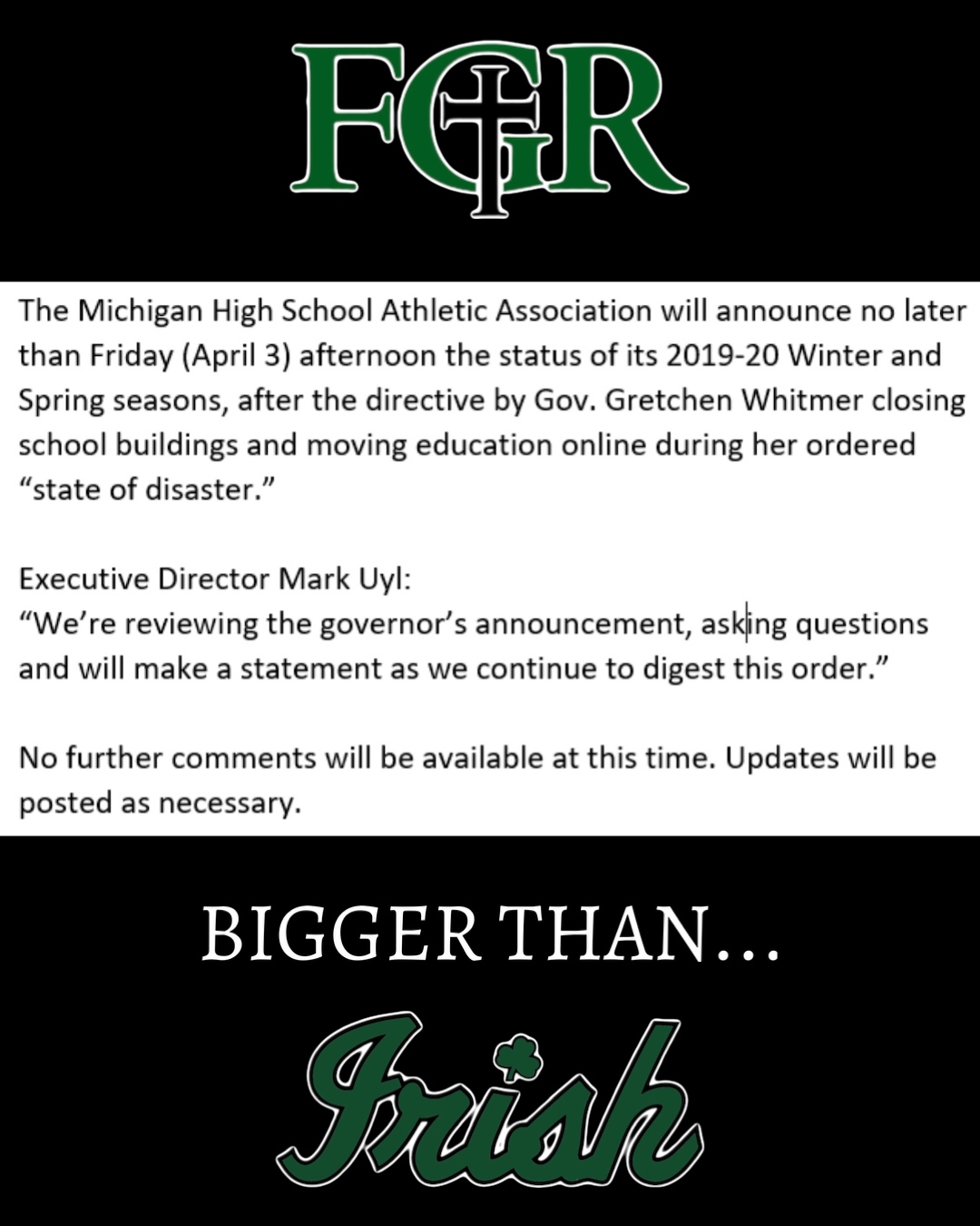 🚨Stay Tuned🚨 MHSAA Update to come soon…