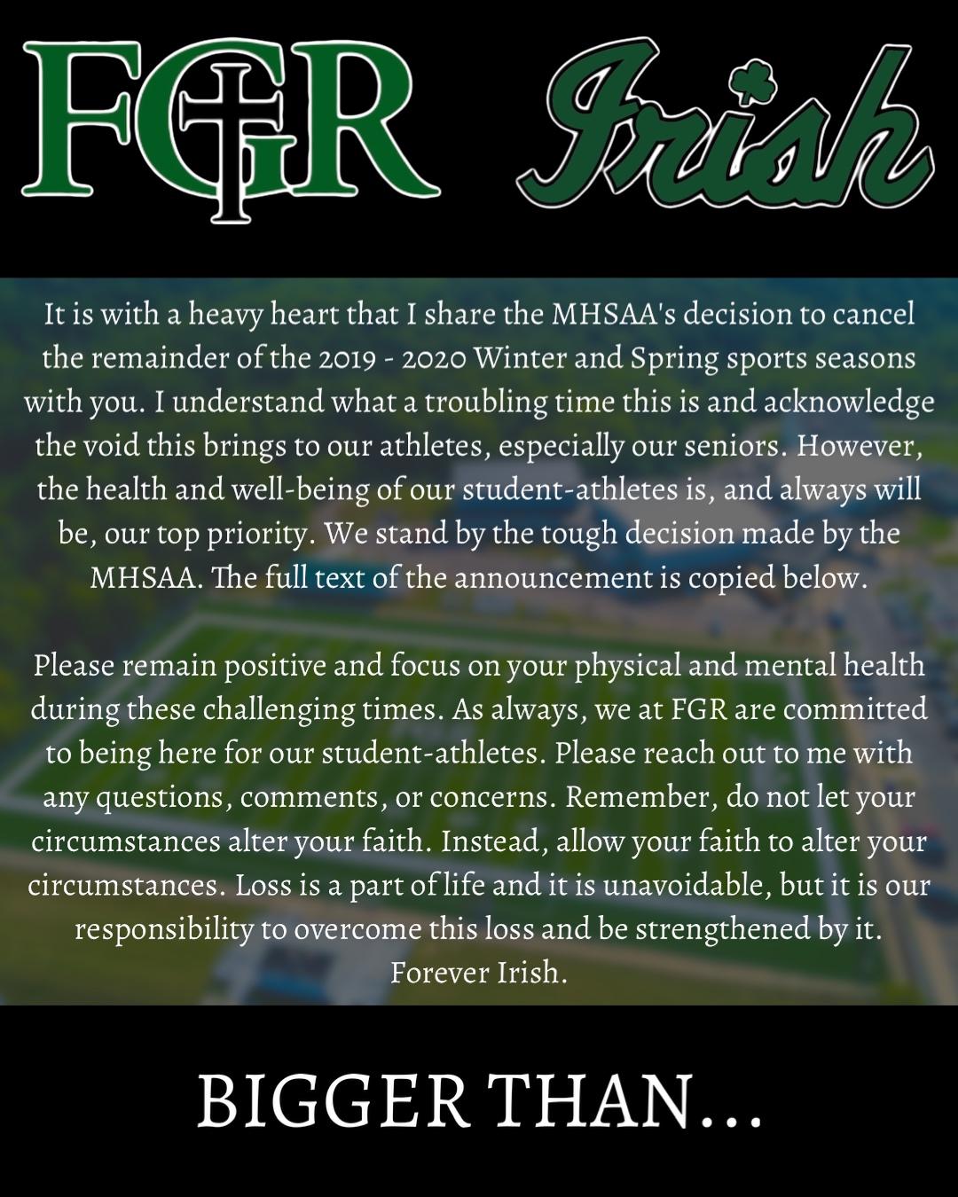 MHSAA Update on Spring Sports