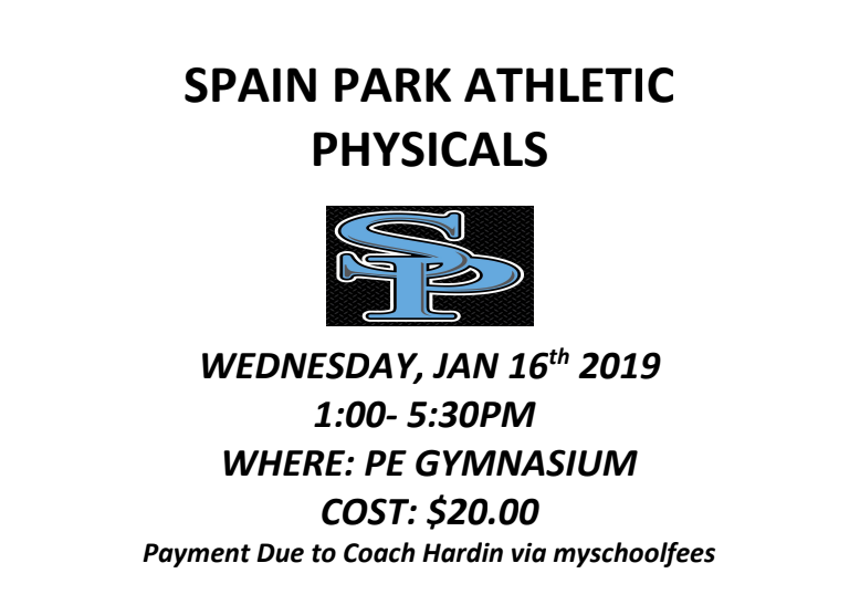 Athletic Physical Information for Jan 16 – Please Read