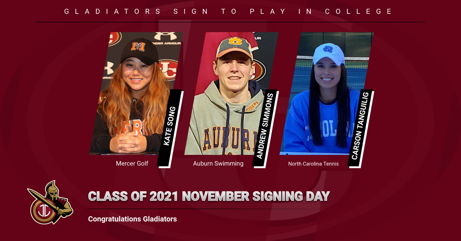 3 Gladiators in Class of 2021 sign to play in college