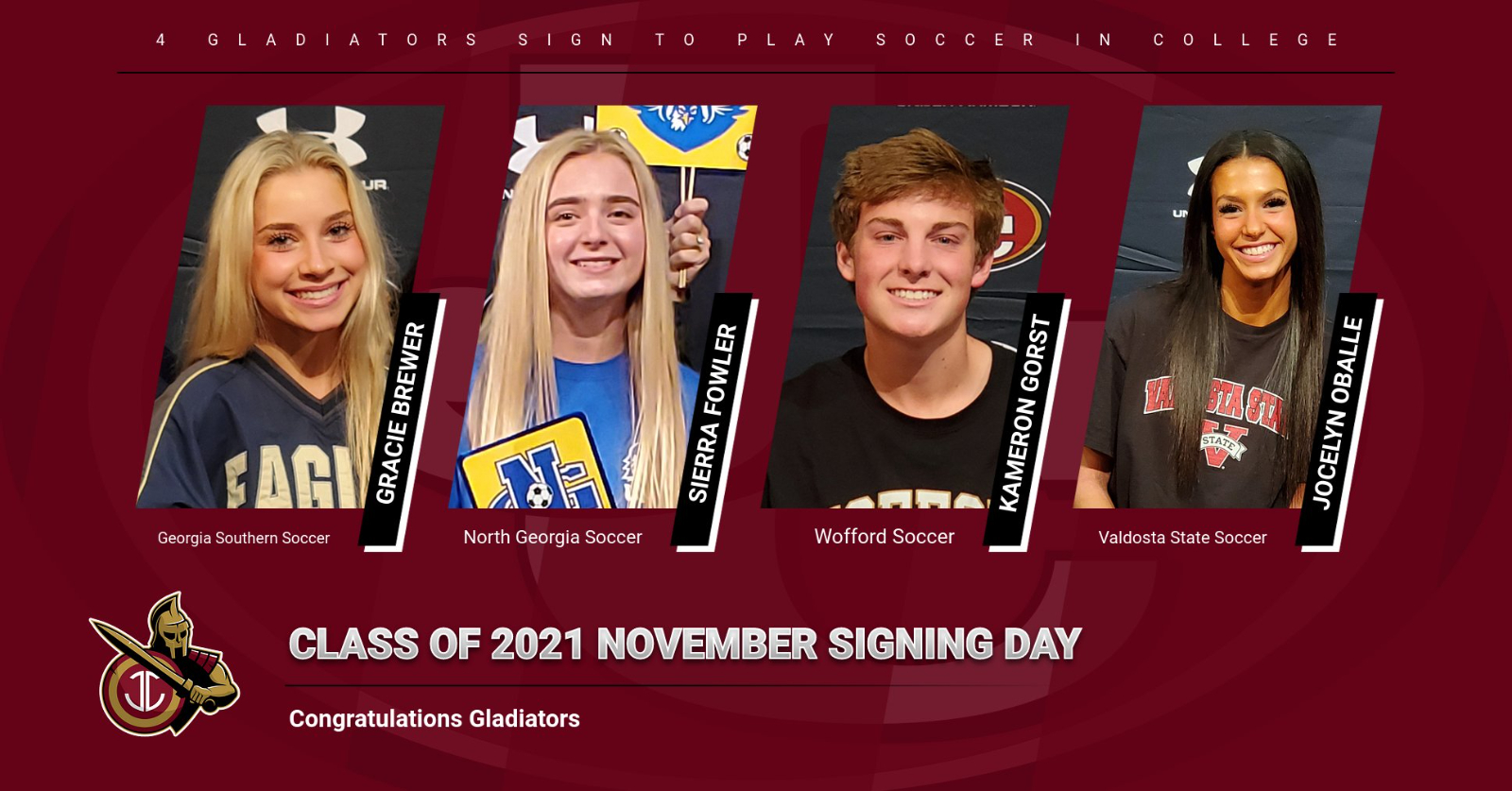 4 Gladiators sign to play College Soccer