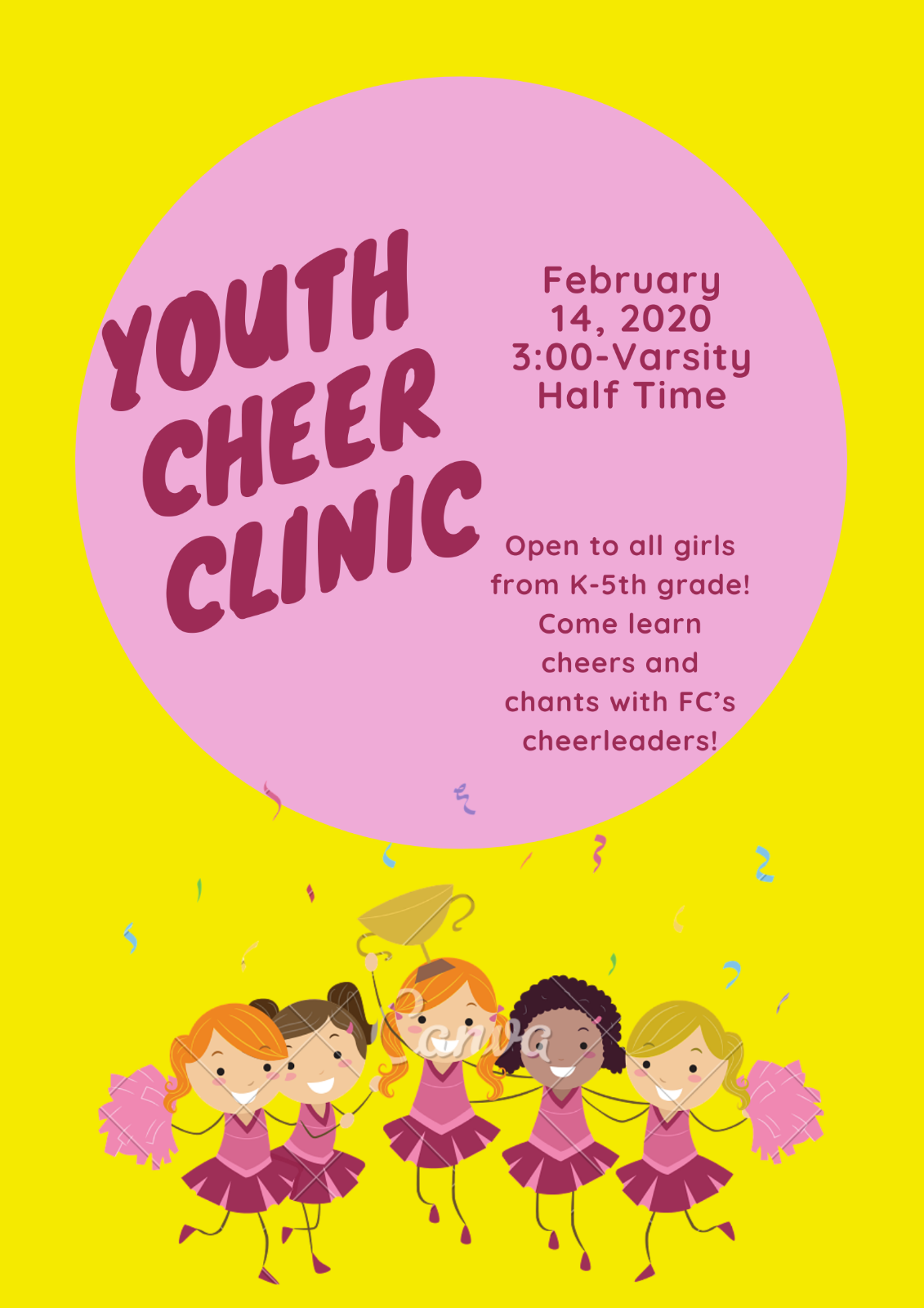 Mustang Cheer Offers Youth Cheer Clinic – Feb 14