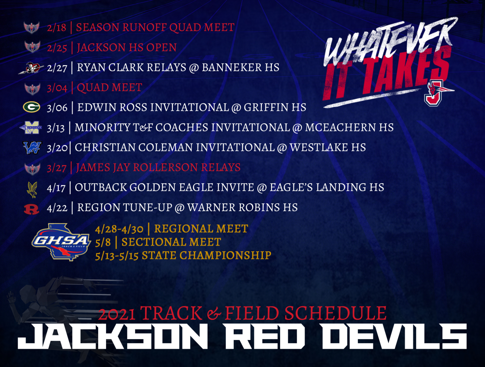 2021 Red Devils Track & Field Schedule