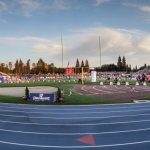 Panoramic view of a track and field event