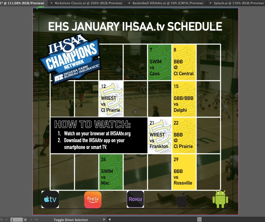 Eastern Athletics January Webstream Broadcast Schedule