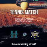 Girls Freshman Tennis shuts out Highland 9 – 0