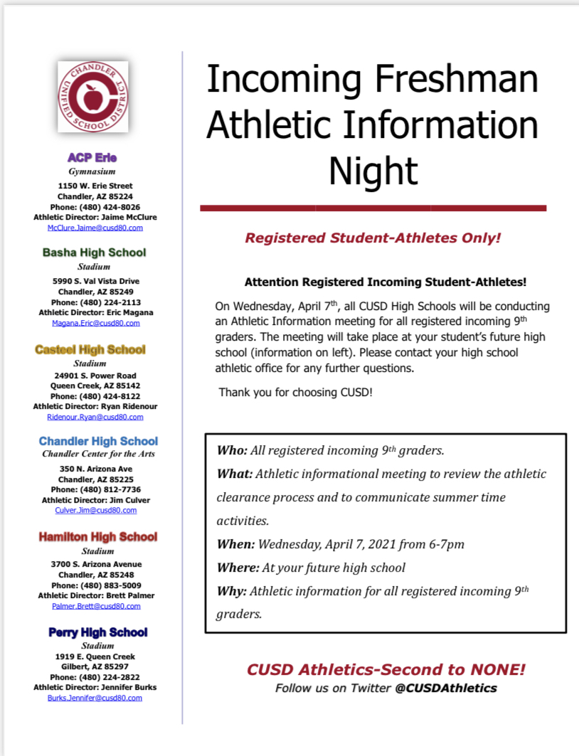 Incoming Freshman Athletic Information Night set for April 7th from 6:00-7:00 pm