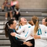 Girls Varsity Volleyball beats Roy 3 – 0