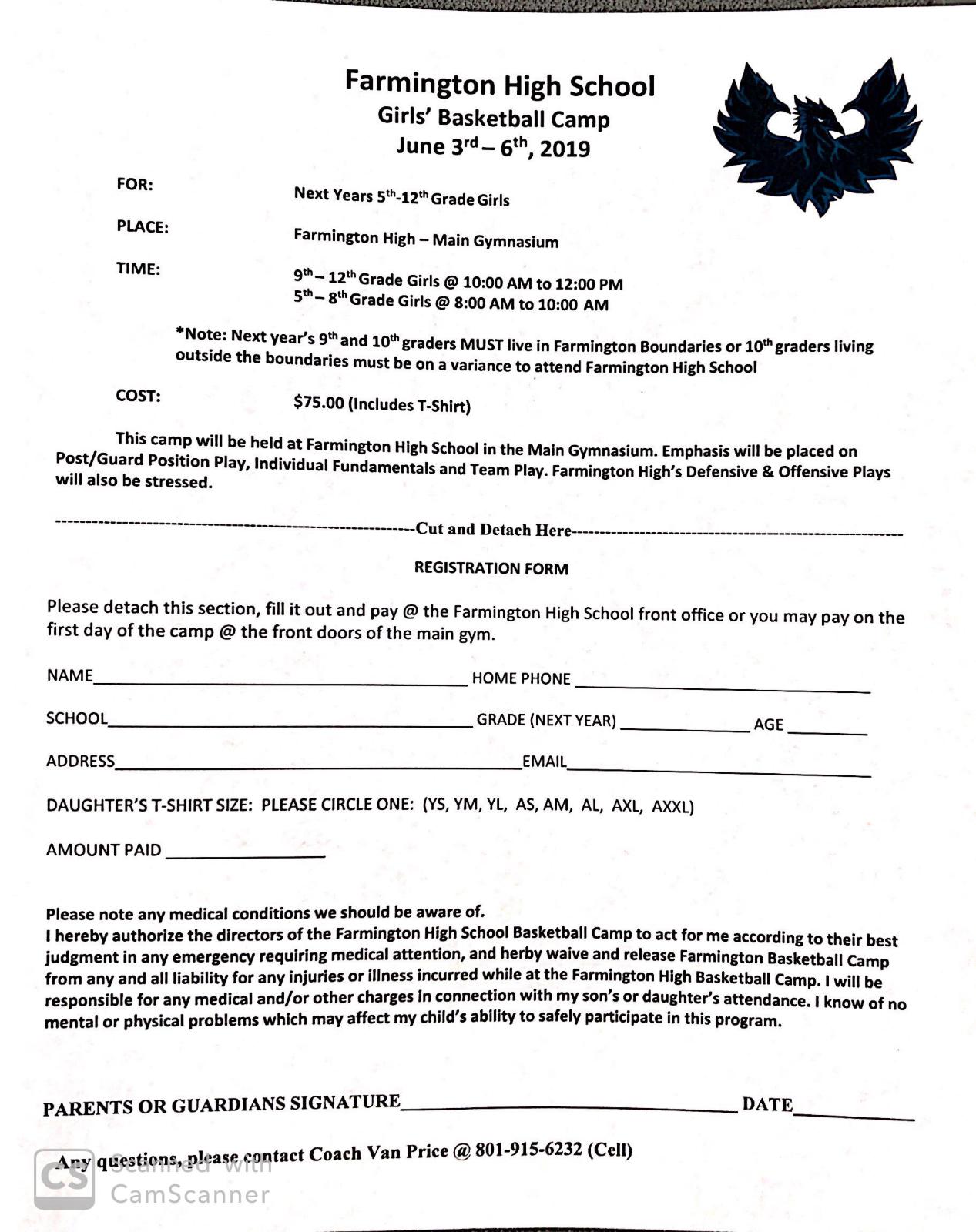 2019 Girls Summer Basketball Camp Info