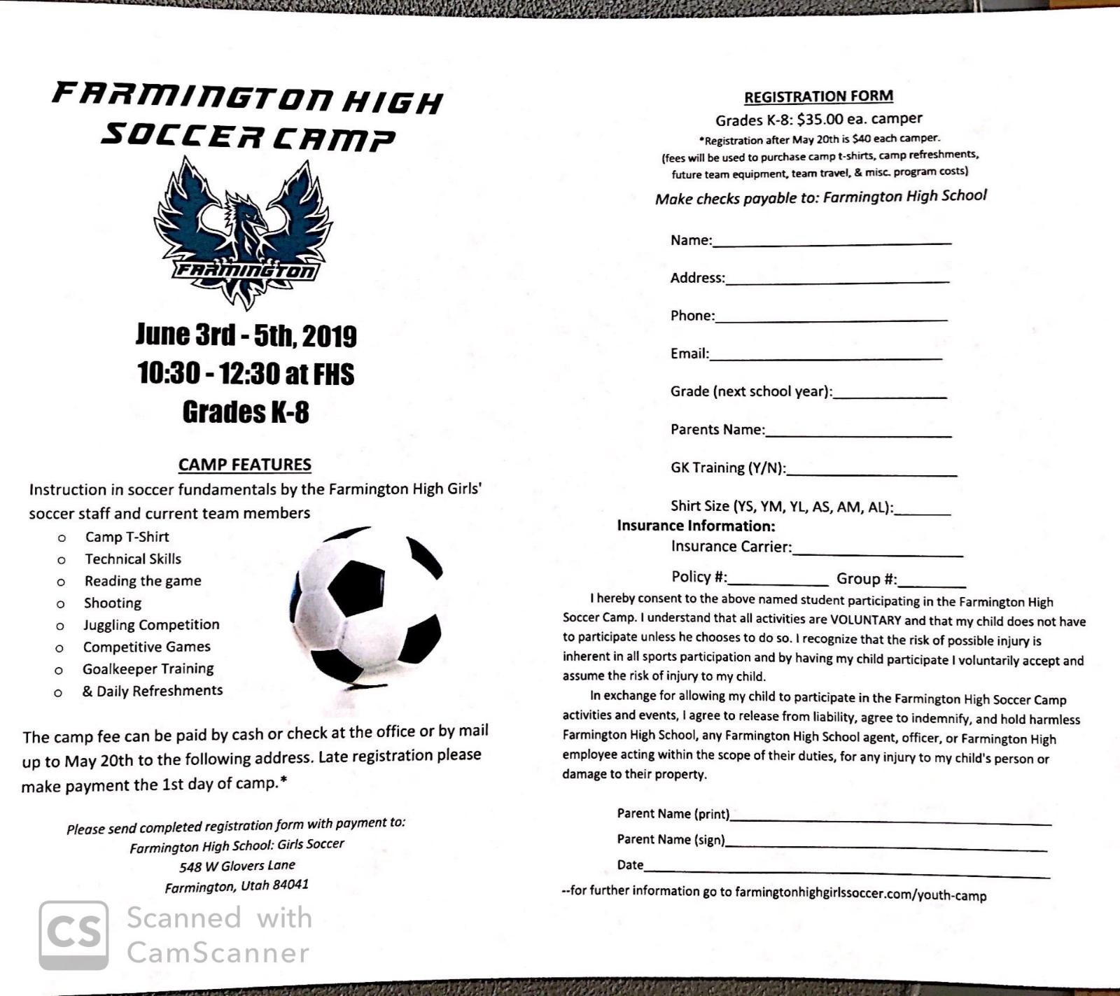 Girls Soccer Summer Camp Info
