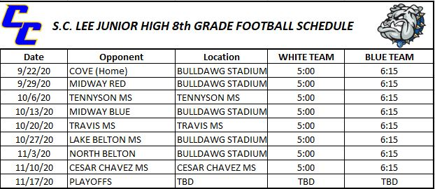 S.C. Lee Junior High Football Schedule