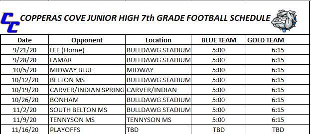 Cove Jr. HIgh 7th Grade Football Schedule