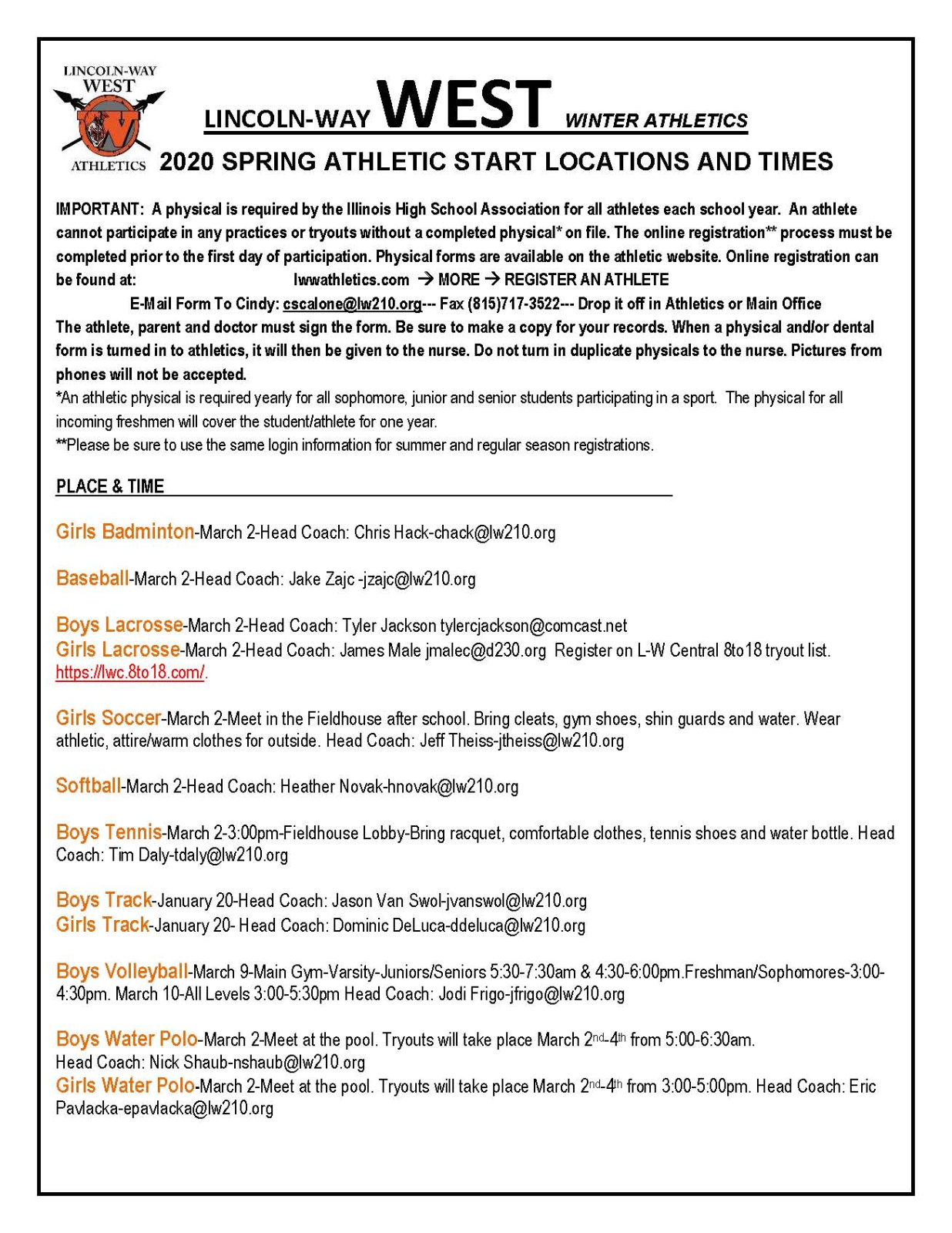 Spring Sports Opening Day 2020