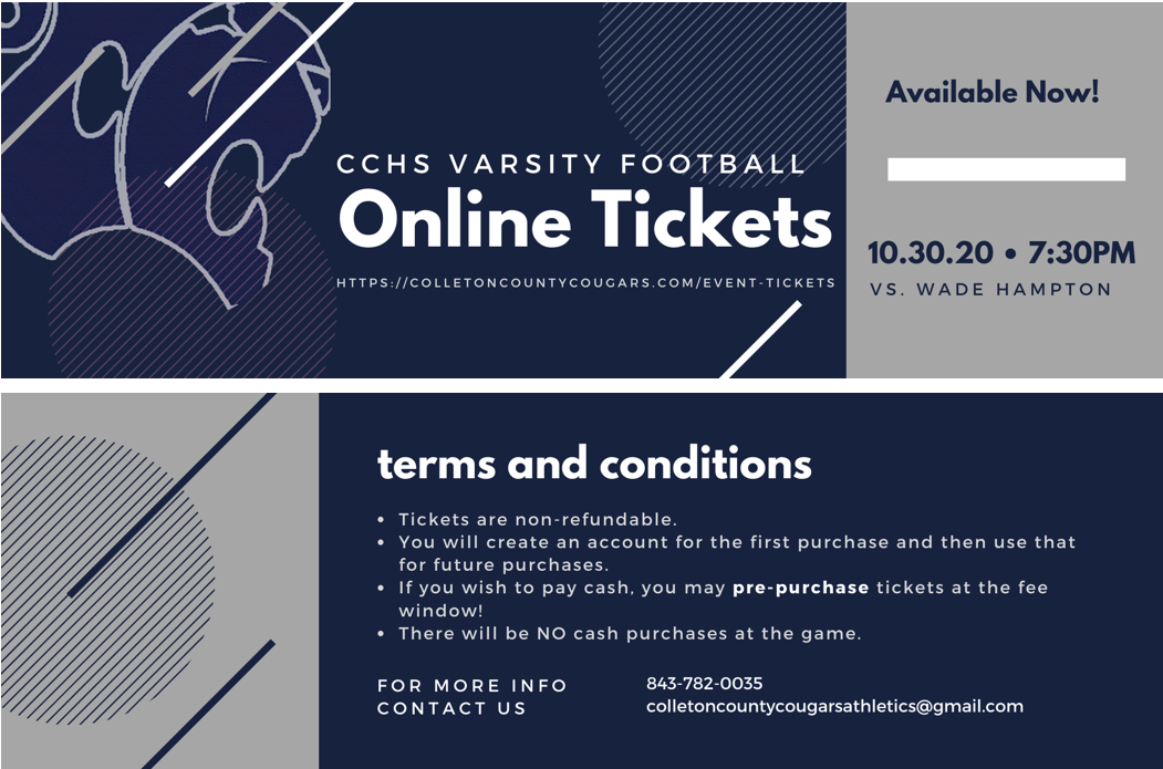 Online Tickets Available: Football 10/30