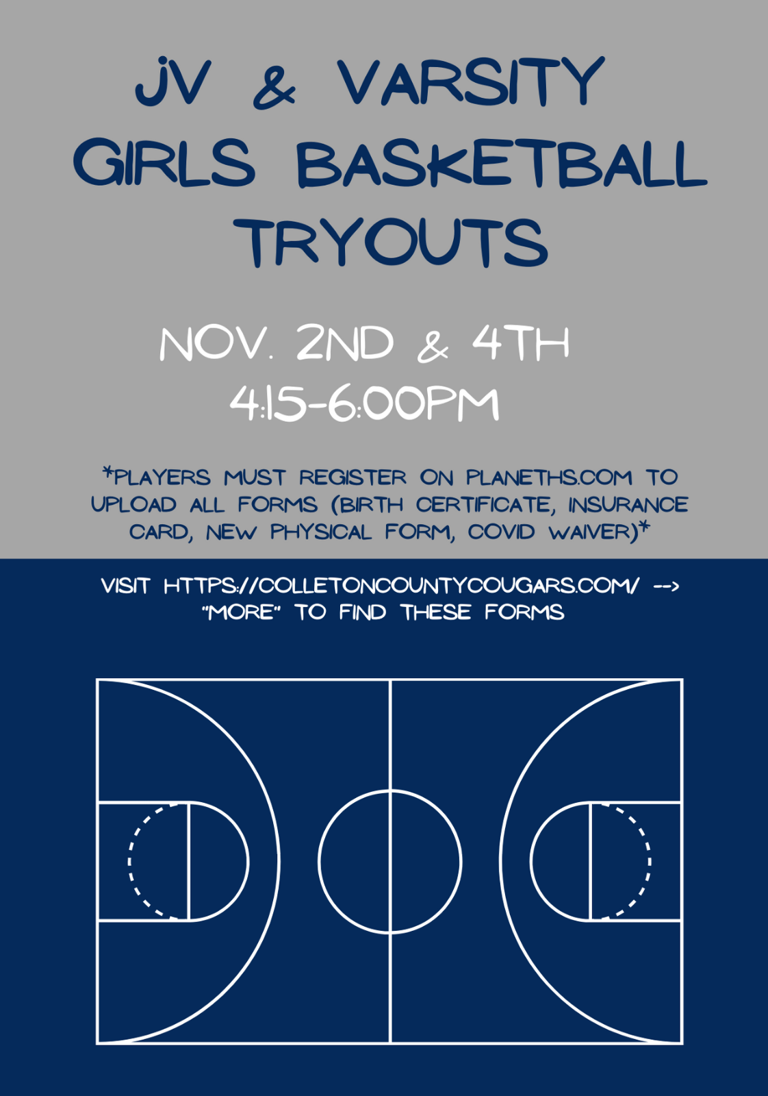 JV & Varsity Girls Basketball Tryouts! 11/2 and 11/4, 4:15-6 PM
