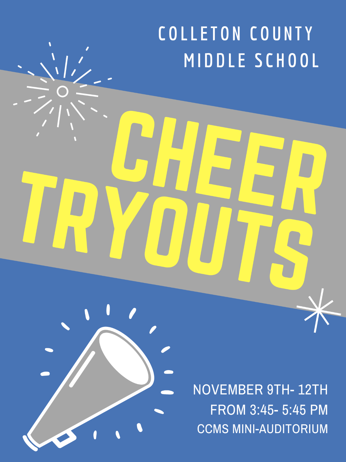 CCMS Cheerleading Tryouts: November 9th-12th