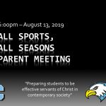 Save the Date!  Parent Meeting August 13