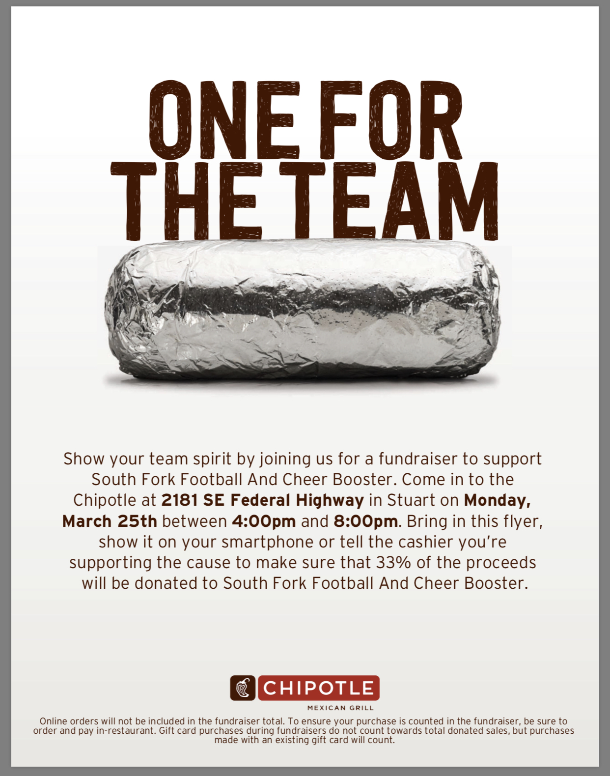 Chipotle Fundraiser Night (3/25/19)